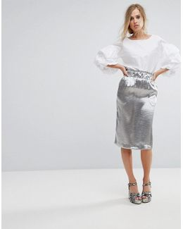 Pencil Skirt In Hammered Satin
