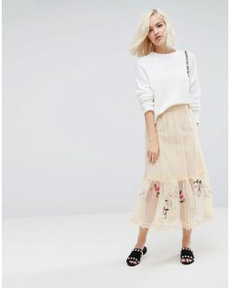 Midi Skirt In Mesh With Embriodery