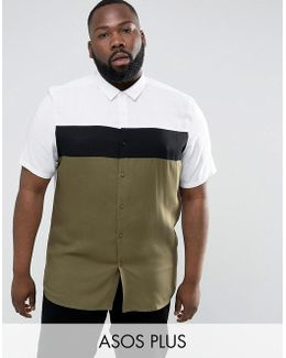 Plus Regular Fit Shirt With Cut And Sew