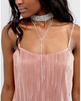 Embellished Choker With Lariat Drop