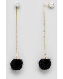 Pom Pom Pearl Drop Through Earrings