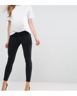 Maternity Ridley Skinny Jean In Washed Black With Under The Bump Waistband