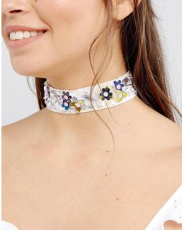 3d Flower Embelished Choker Necklace