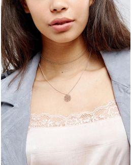 Fine Multirow Filigree Charm Choker Necklace