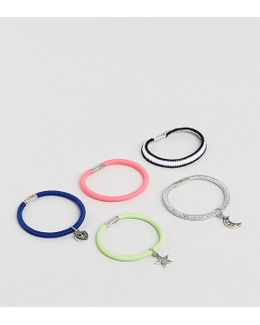 Pack Of 5 Hair Elastic With Charms
