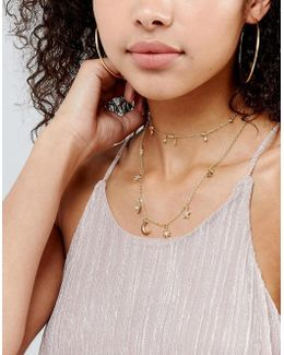 Multirow Fine Charm Layered Necklace