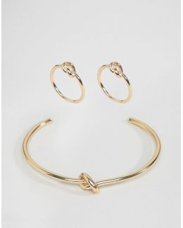Pack Of 3 Knot Rings And Cuff Bracelet Pack