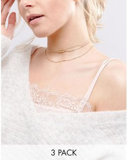 Pack Of 3 Chain Choker Necklaces