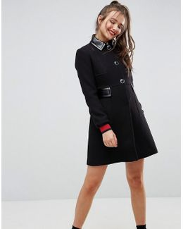 Skater Coat With Patent Collar And Tipped Cuff