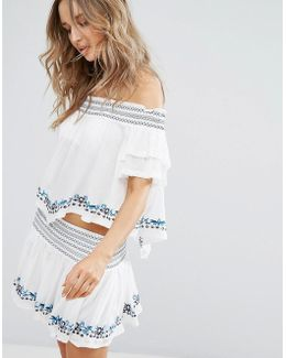 Embroidered Off The Shoulder Beach Top