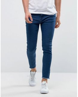 Skinny Medium Blue Jeans With Raw Edge