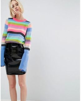 Jumper With Multi Stripe And Fluted Sleeves