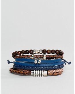 Black / Brown Bracelets 4 Pack
