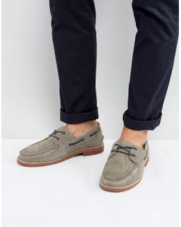 Boat Shoes In Grey Suede