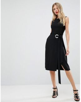 Sleeveless Pencil Dress With Oversized Eyelet And Tie