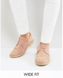 Wide Fit Derby Shoes In Pink Suede With Tan Leather Heel Detail