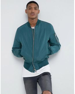 Bomber Jacket With Ma1 Pocket In Bottle Green