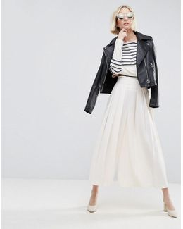 Tailored Culottes With Large Fold Pleat Front
