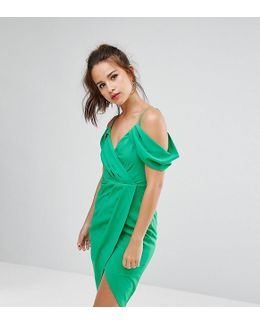 Wrap Front Dress With Cold Soulder Detail And Asymmetric Hem