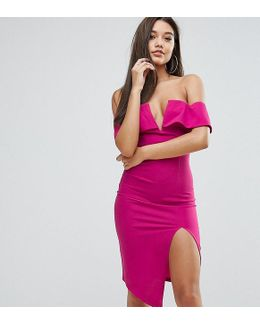 Bardot Plunge Front Midi Dress With Split