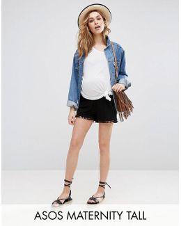 Tall Shorts With Pom Pom Hem