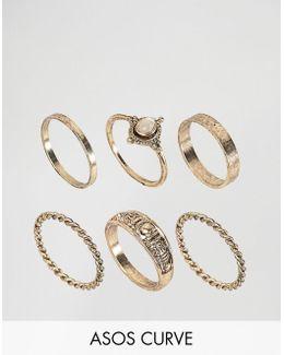 Pack Of 6 Moonstone Festival Ring Pack