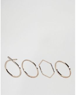 Pack Of 4 Mixed Shape Ring Pack
