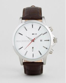 Watch In Brown Croc Leather Strap