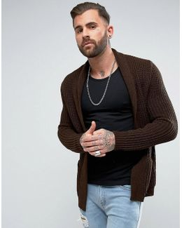 Ultimate Knitted Cardigan In Brown