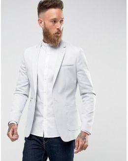 Super Skinny Blazer In Light Grey Cotton