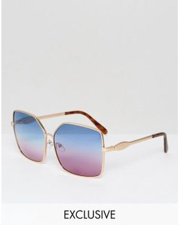 Metal Square Sunglasses With Blue & Pink Tinted Lens Exclusive To Asos