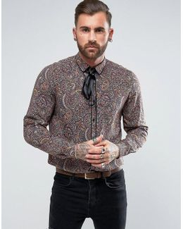 Regular Fit Viscose Paisley Print Shirt With Neck Tie