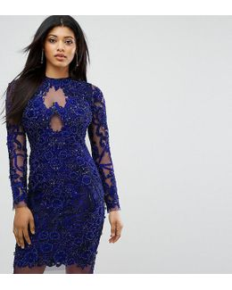 Pencil Dress In All Over Embellishment