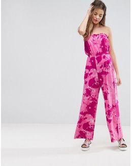 Bandeau Jersey Jumpsuit With Tie Dye Print