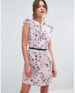 Floral Printed Ruffle Cap Sleeve Dress