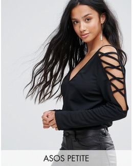 Top In Crepe With Caging Shoulder Detail