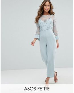 Jumpsuit With Lace Bodice And Contrast Satin Trouser