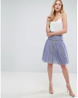 Tulle Prom Skirt With Deep Basque