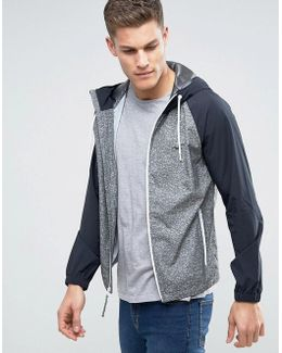 Hooded Windbreaker Stretch Raglan Contrast Sleeves In Grey Marl/black