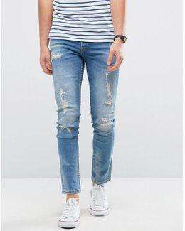 Jeans In Slim Fit With Heavy Repair Detail