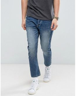 Jeans In Tapered Cropped Fit With Distress