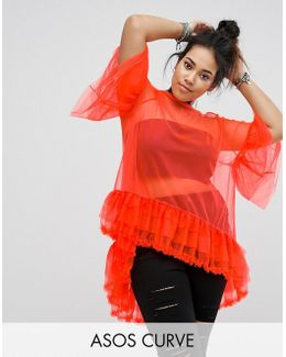 Mesh T-shirt With Dipped Back And Ruffles