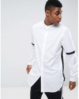 Regular Fit Super Longline Shirt With Taping