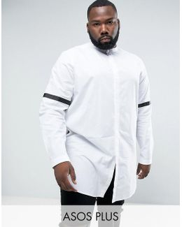 Plus Regular Fit Super Longline Shirt With Taping