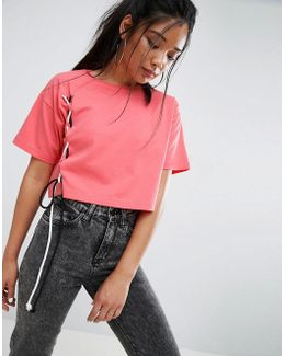 Crop T-shirt With Contrast Lace Up Details