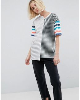 T-shirt In Oversized Fit And Mix And Match Stripes