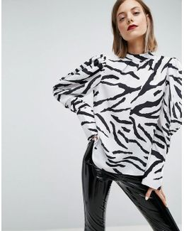 Top With Extreme Sleeve In Zebra Print