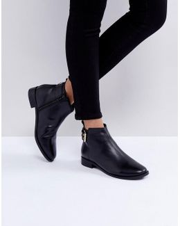 Brogana Buckle Leather Ankle Boots