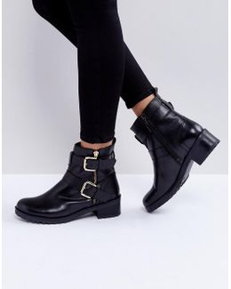 Betsy Leather Biker Boots