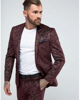 Skinny Tuxedo Suit Jacket In Burgundy Velvet Paisley